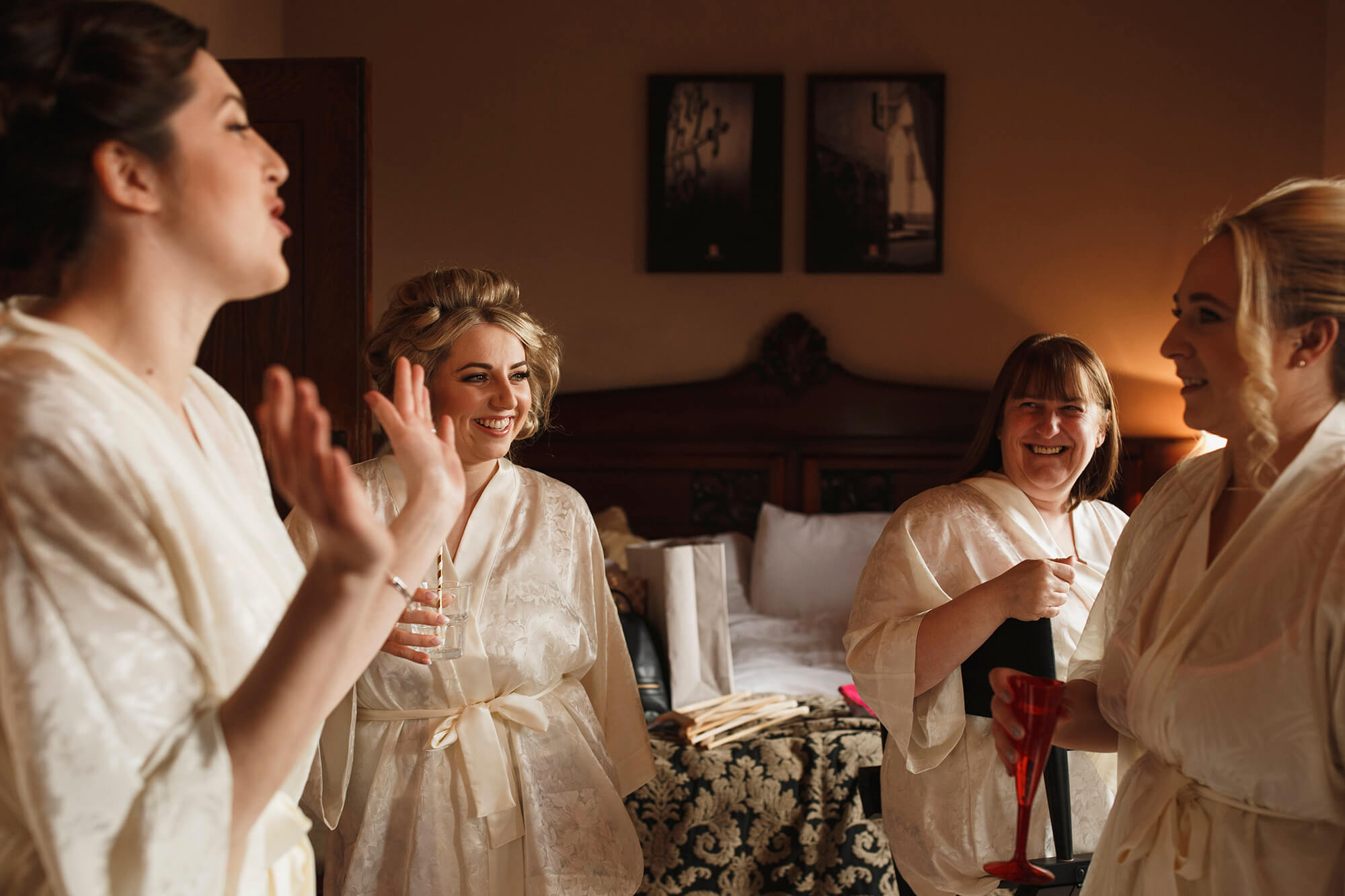 bridal party getting ready at Peckforton Castle