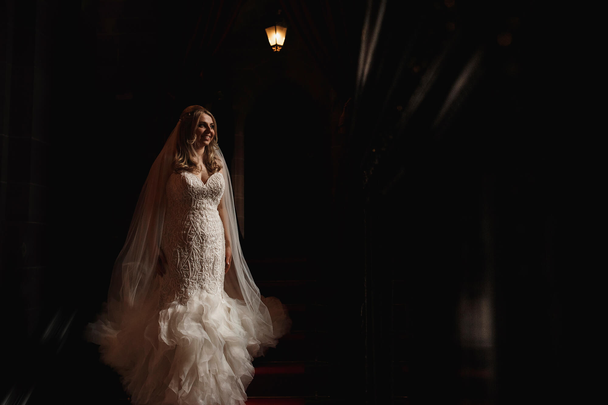 bridal portrait at Peckforton Castle