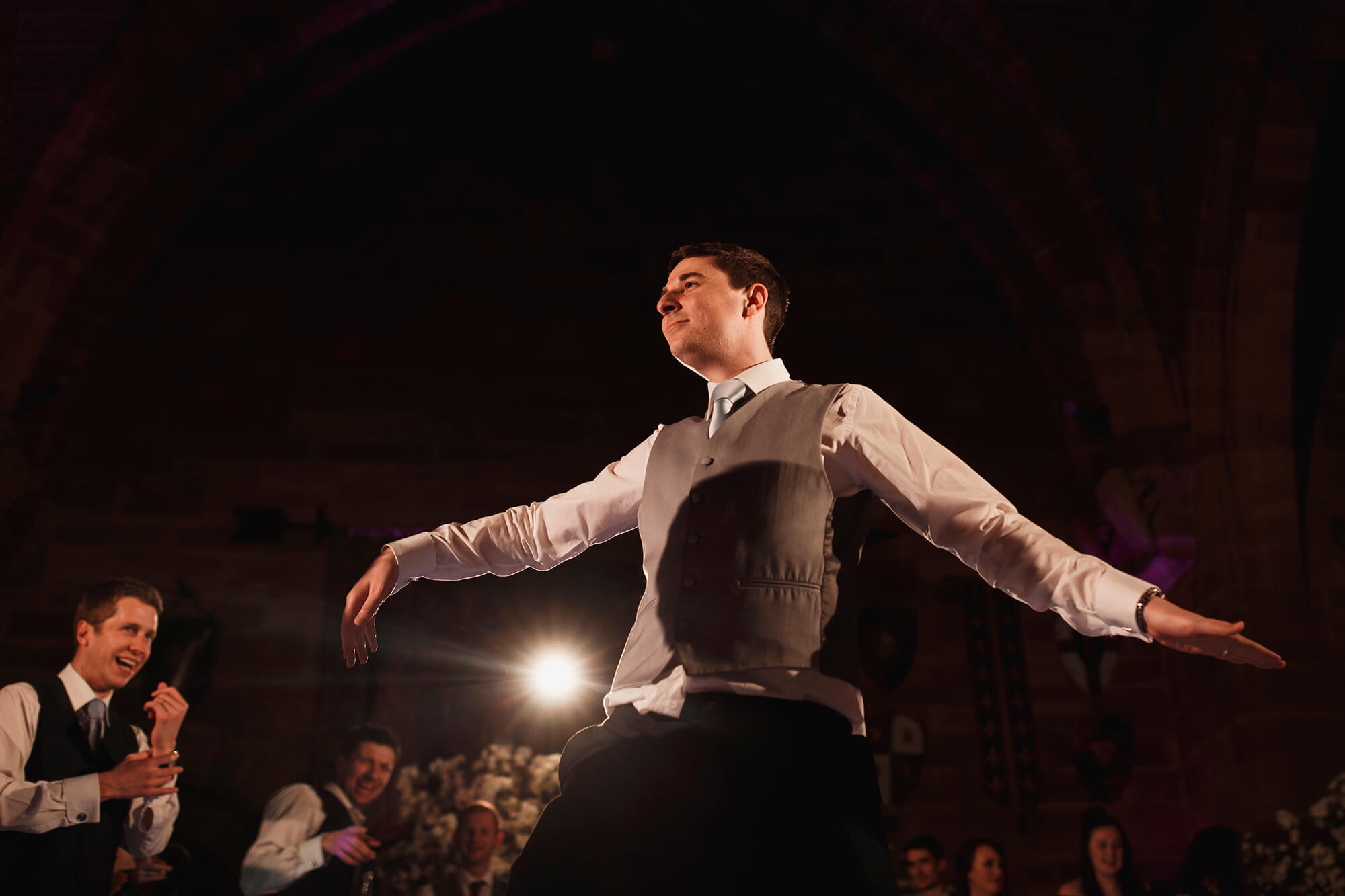 groom dancing at Peckforton Castle