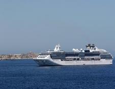 cruise ship near land