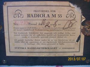 689. Såld. Radiola M55. Nummer 64299. Tillv. 1928 02 16. 101_0271