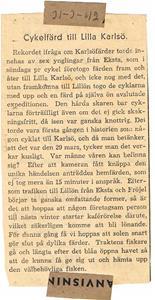 Tidningsurklipp Cykelfärd till Karlsö 1942 03 31