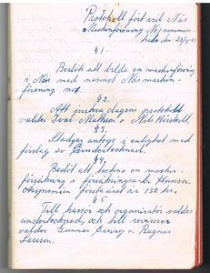 Näs Maskinförening nummer 1 protokollsbok. Första mötet 1951 04 28 del 1