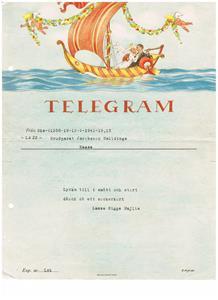 Bröllopstelegram 1941 09 13 till min mor och far från Lasse Sigge Majlis