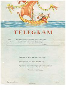 Bröllopstelegram 1941 09 13 till min mor och far från vännerna vid Snoder