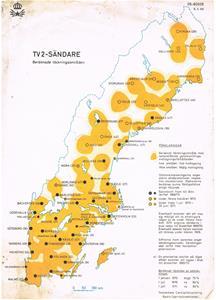 TV 2-Sändare beräknade täckningsområden 1970.