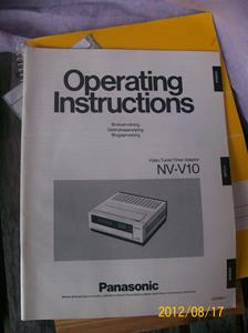 602. Panasonic, Video Tuner/Timer från Sveriges Radio/Television, instruktionsbok. Tillhör nr: 601. Typ: NV-V10. Nr: VAT 0963-1. Fotonr: 100_9467