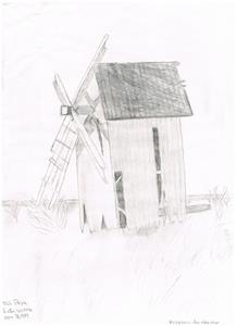 Kvarnen vid Sigleifs i Näs. Tecknat av Vonna 1984.