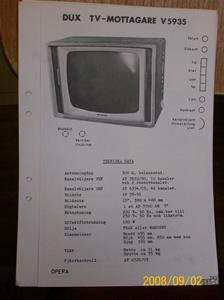 242. DUX, TV- Servicemanualer. År 1962-1963. Bambino, Soaré, Poem, Ringside, Aktör, Gracil, Rondo, Varieté, Manegé, Opera, Grandessa. Fotnr: 000_0016.