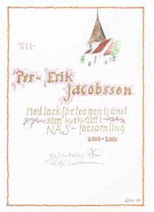 Diplom för Kyrkvärd 2001.