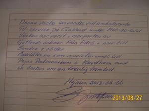 767. Dokument om överlåtelse av serviceväska. Skrivet av Elvir Gustavsson 2013 08 06. 101_0423