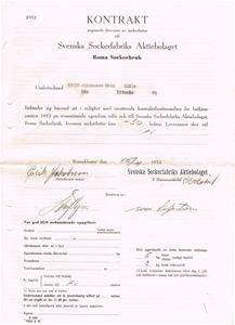 Kontrakt med Sockerbruket i Roma. 1952.