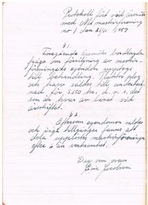 Näs Maskinförening nummer 1  protokollsbok. Möte 1957 11 21.Sista protokollet