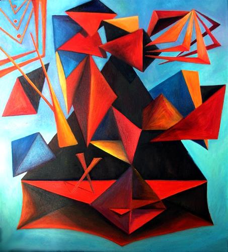 Musikens och färgernas geometri. Oljemålning. Geometry of music and colour. Oilpainting.
