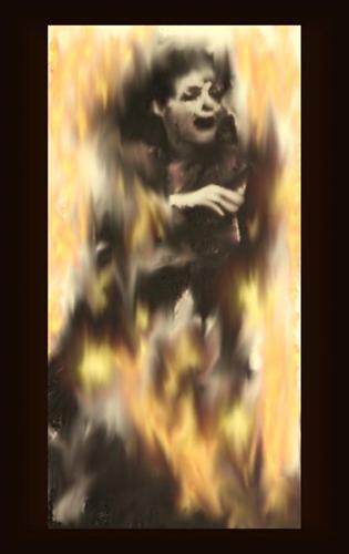 Brinnande kvinna