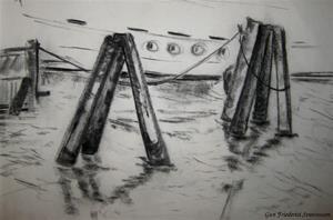 Teckning Göteborgs hamn