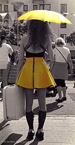 Girl x with yellow umbrella