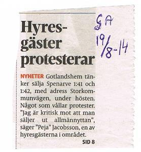 Hyresgäster protesterar 2014 08 19. Gotlands Allehanda.