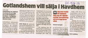 Gotlandshem vill sälja i Havdhem 2015 08 14. Gotlands Allehanda.