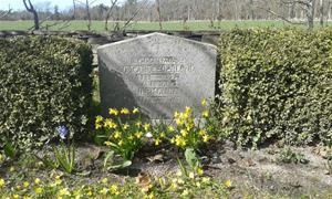 Min mormor och morfar Hermanna och Oskars Cederlunds grav, före planteringen av Penséer 2015 04 20.