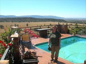 Utsikt från vårt krypin på Mountain View Lodge