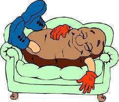 sover på soffan tecknad