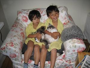 Jocke och LInus med sina katter