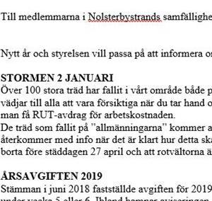 Till medlemmarna i Nolsterbystrands samfällighetsförening