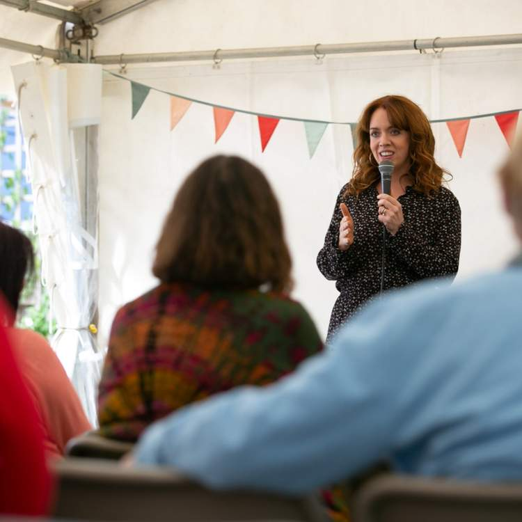 Best-selling author Erin Kelly in the Waterstones Tent