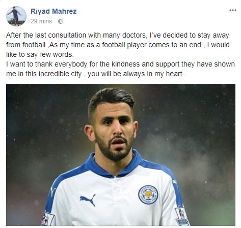 riyad mahrez retirement statement facebook
