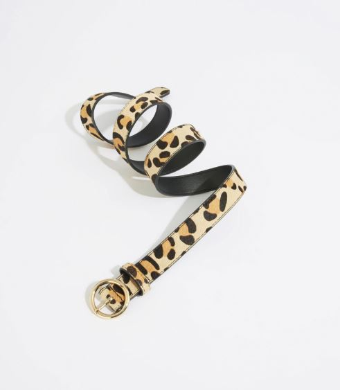 warehouse ponyhair leopard print belt
