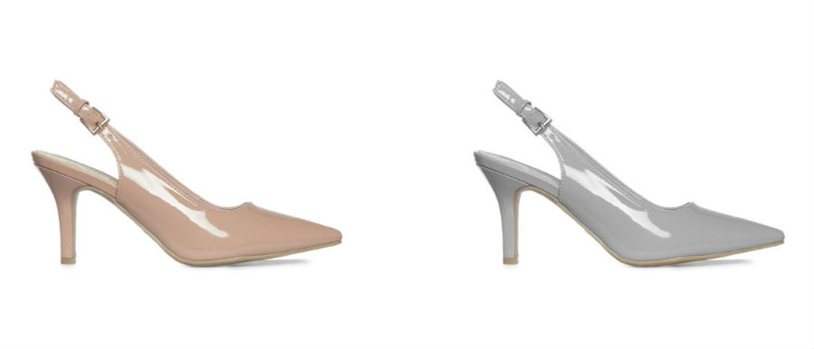 penneys patent slingback heels in pink and grey
