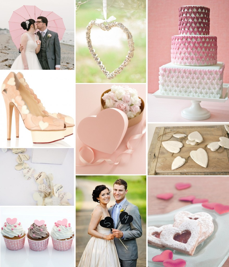 valentine's love heart wedding theme: moodboard and