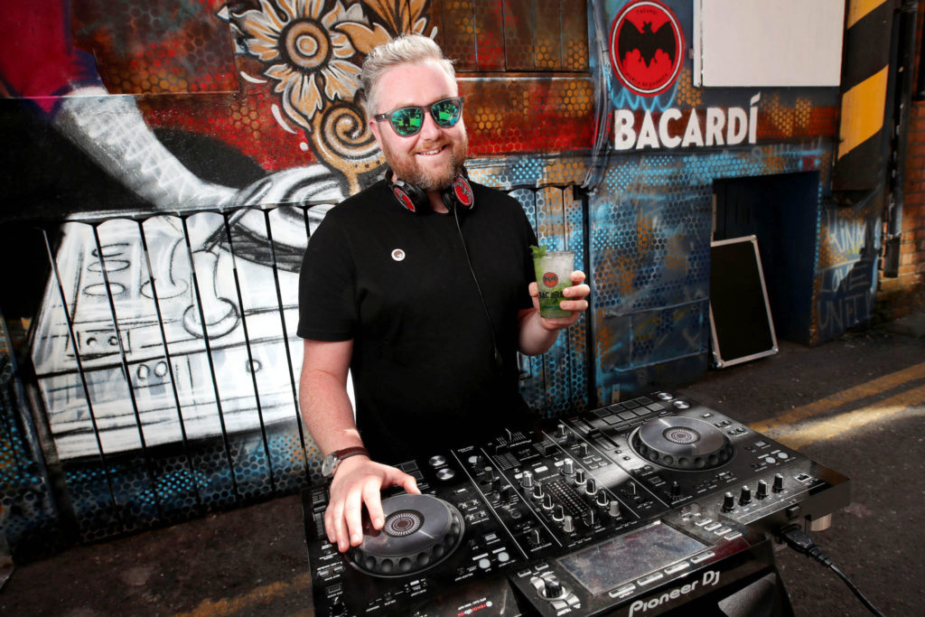 Krafty Kuts behind his trusty DJ equipment in preparation for his upcoming appearance at Electric Picnic