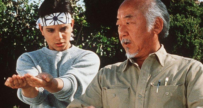 Ralph Macchio and Pat Morita in Karate Kid.