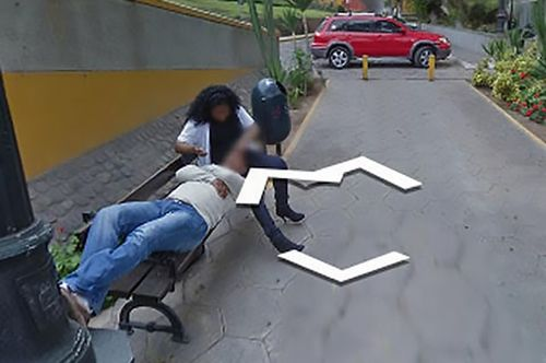 Husband accidentally catches cheating wife and lover on Google Street View.