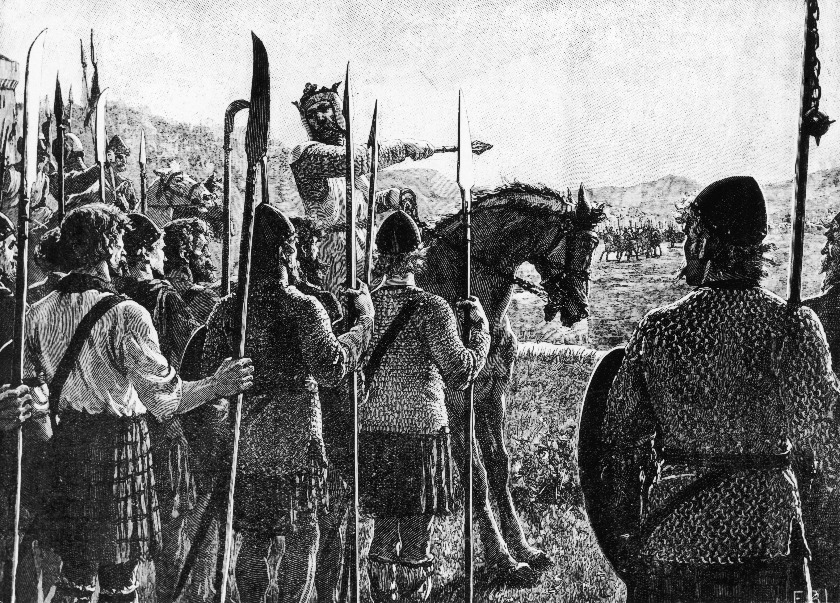 Robert the Bruce (1274 - 1329), King Robert I of Scotland, addresses his troops before the Battle of Bannockburn in Scotland, 23rd June 1314. Here Bruce won a decisive victory over King Edward II of England. A plate from 'Cassell's History of England'. (Photo by Hulton Archive/Getty Images).
