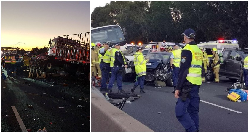 Extremely Distressing Scene As Irishman 36 Killed In Horror 11 Car Pile Up On Motorway Sydney