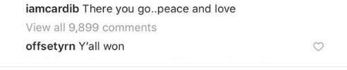 Cardi b offset comment on instagram breakup
