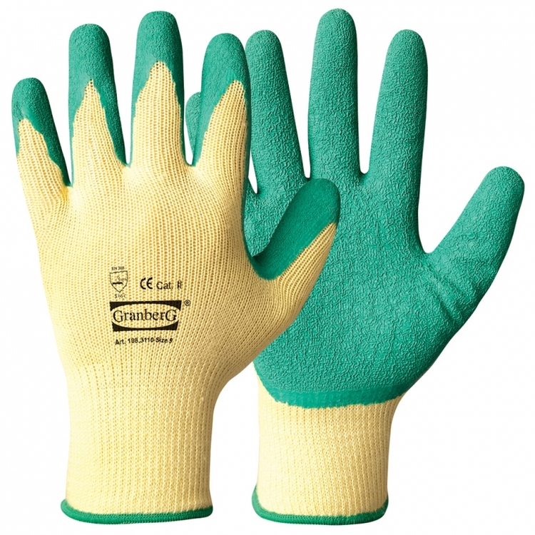 12-pack Granberg® arbetshandskar belagda med latex