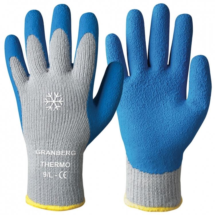 12-pack Granberg® stickade vinterhandskar doppade i mjuk latex