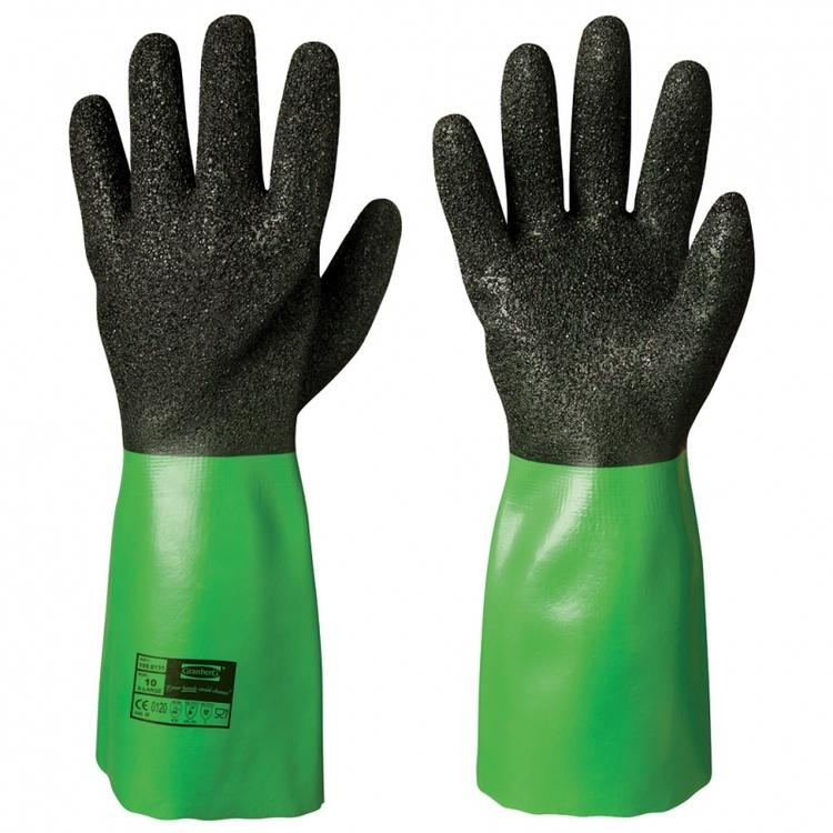 6-pack Granberg® kemikalieresistenta handskar i vinyl med sömlöst nylonfoder