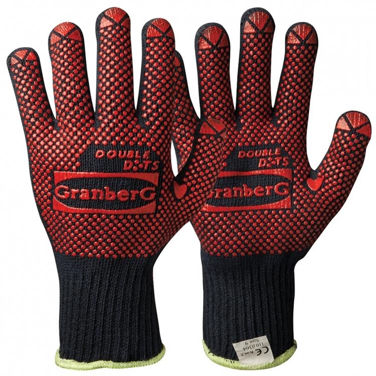 12-pack Granberg® stickade handskar i bomull med vinyl/PVC-noppor