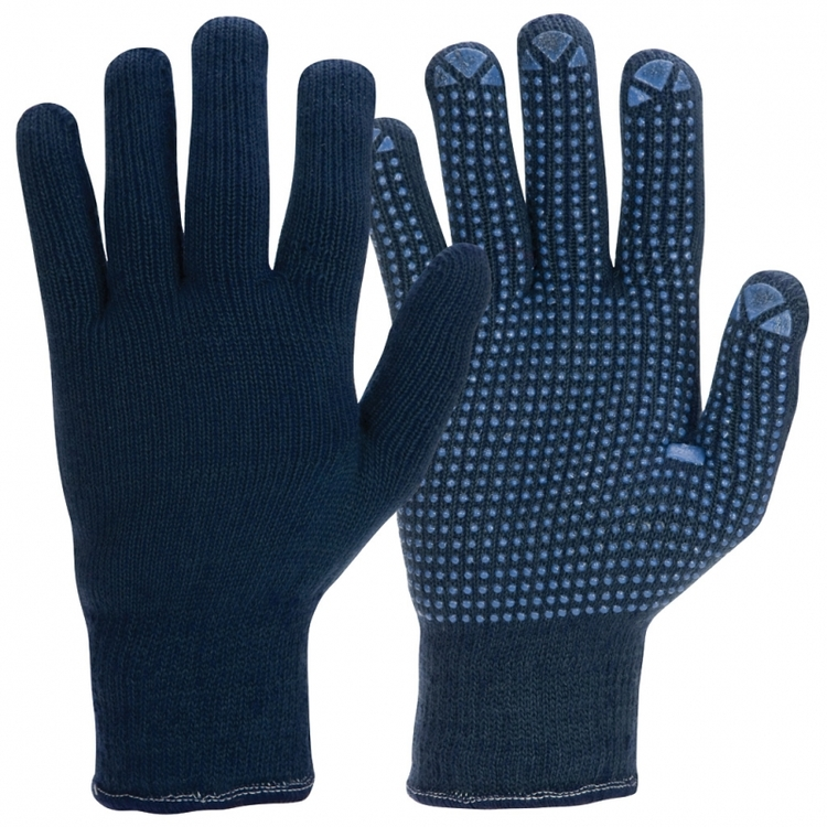 12-pack Granberg® stickade vinterhandskar med mikronoppor i vinyl/PVC