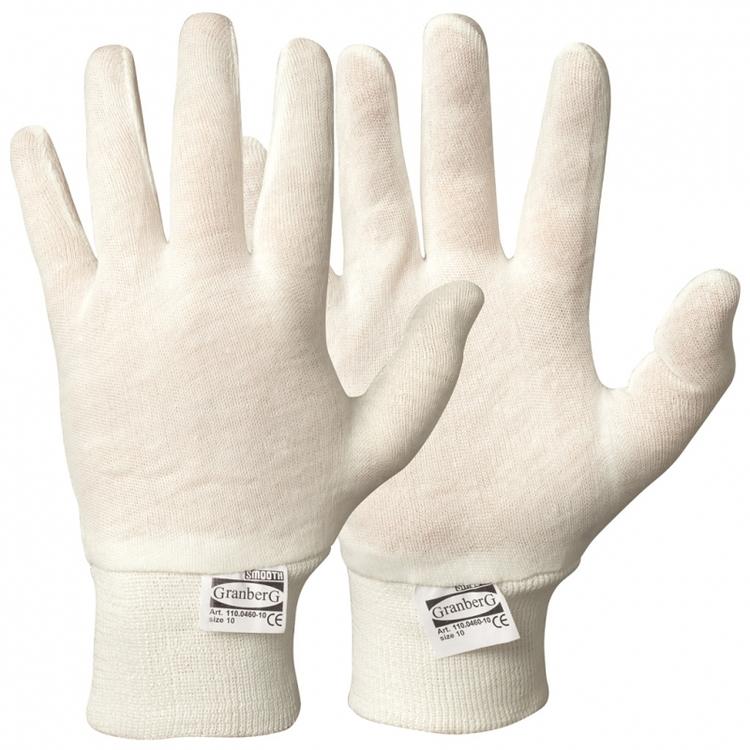 12-pack Granberg® innerhandskar i bomull med stickad mudd