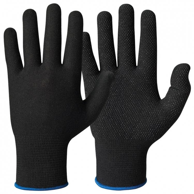 12-pack Granberg® Svarta bomullshandskar med Lycra® och mikronoppor i vinyl/PVC