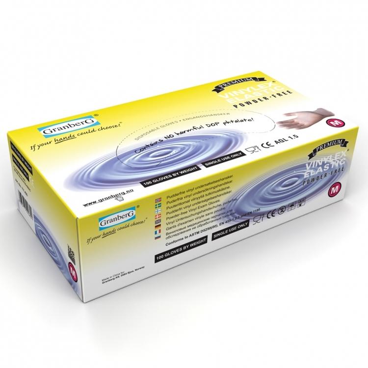 100-pack Vinylex syntetiska engångshandskar, puderfria