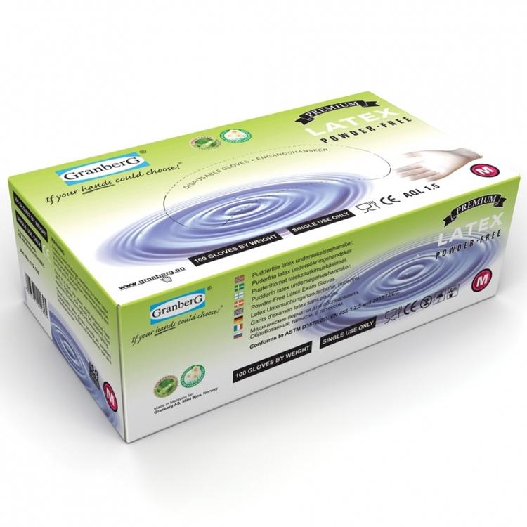 100-pack Granberg® engångshandskar i latex, puderfria