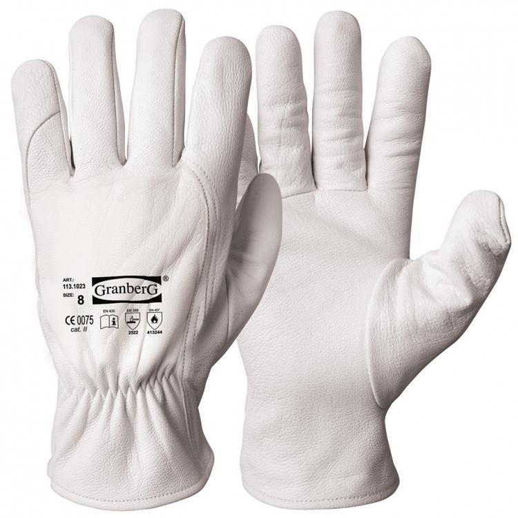 12-pack Granberg® montagehandskar i getskinn, värmebeständiga med skärskydd