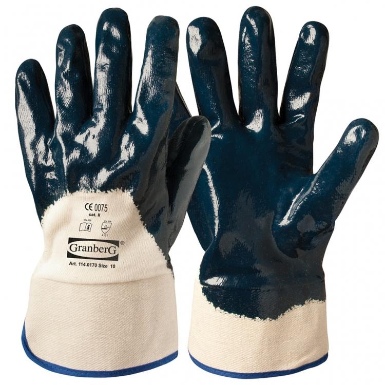 12-pack Granberg® arbetshandskar med nitrilöverdrag och krage